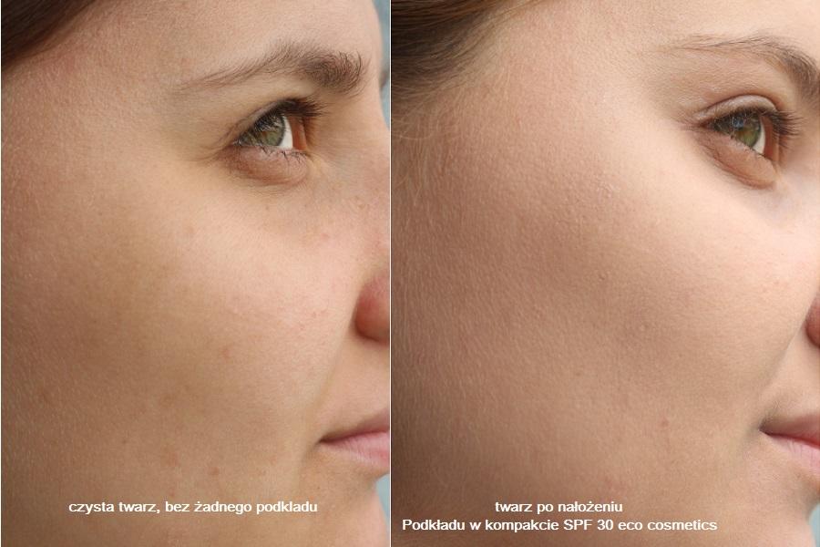 twarz przed i po podkład w kompakcie